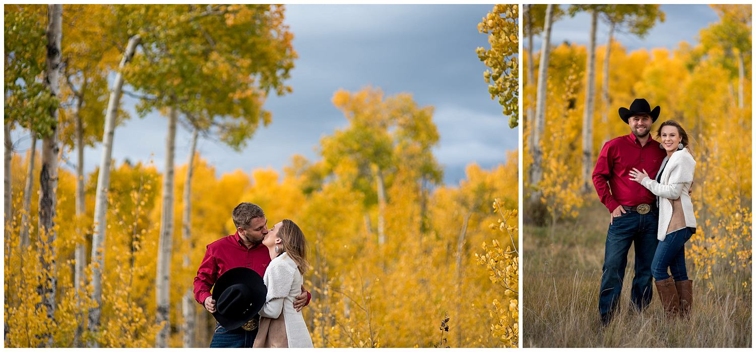 engagement photos with yellow Aspens in Colorado