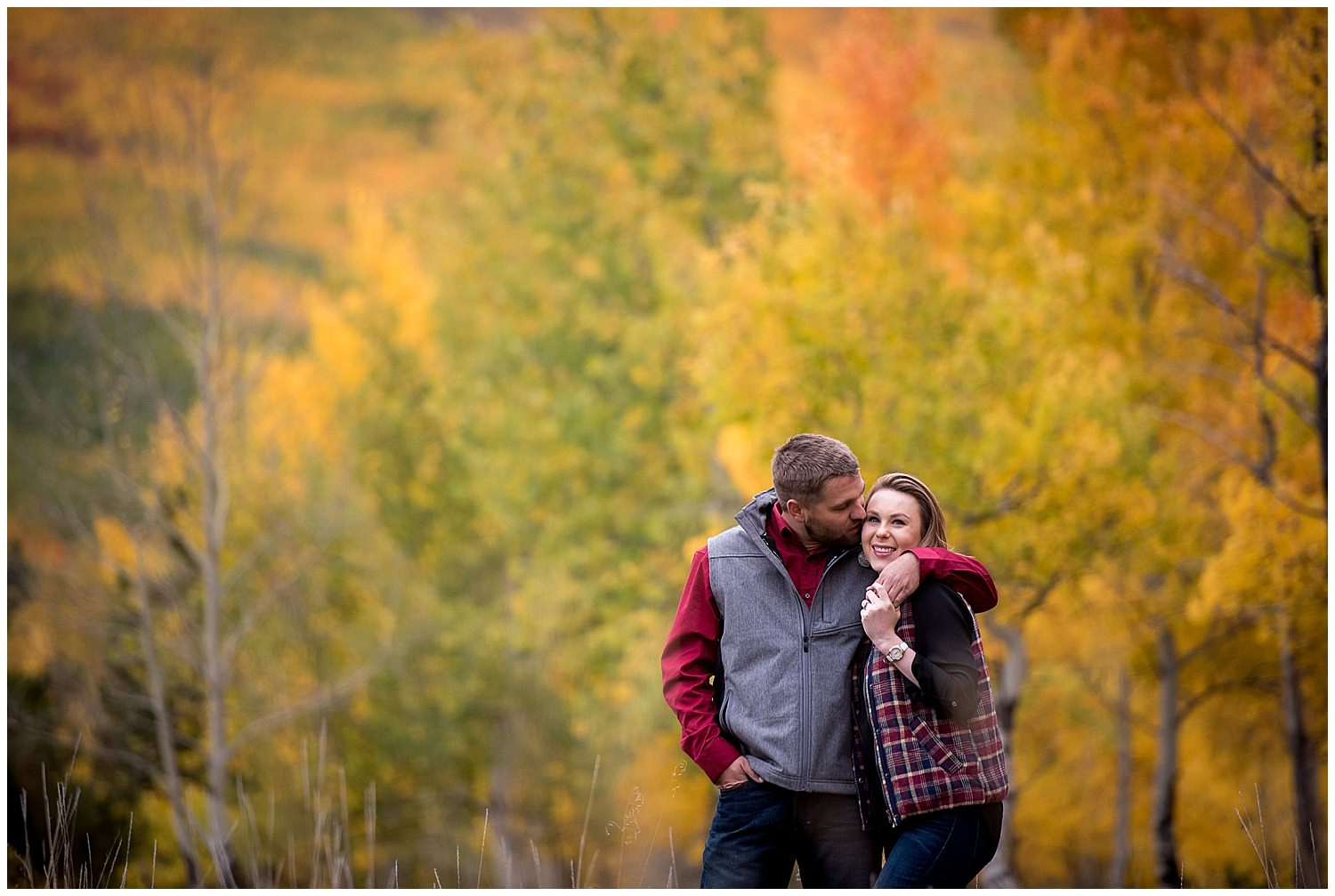 candid fall Aspen engagement photography