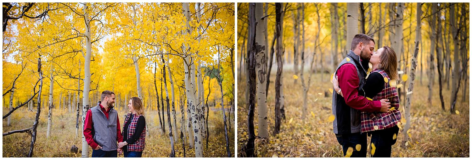 Engagement photo in Fall Aspen trees