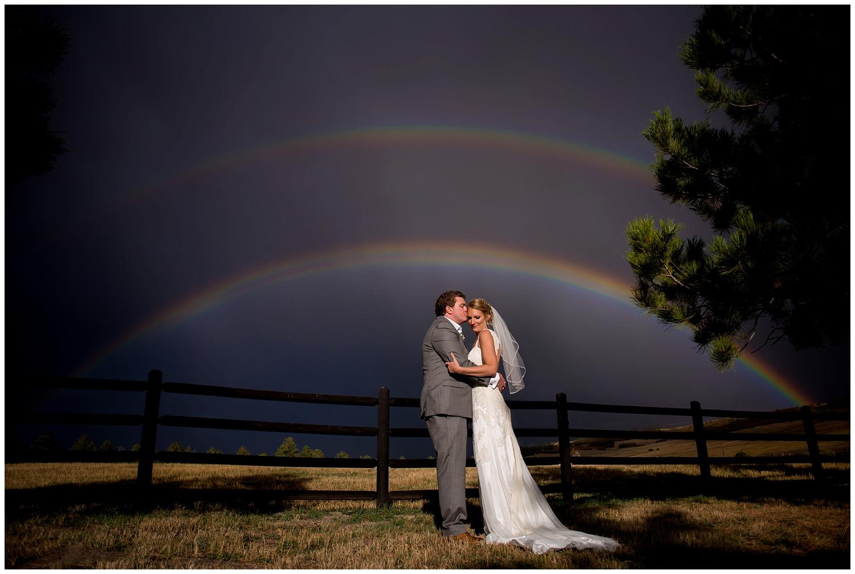 colorado Rainbow over Wedding couple