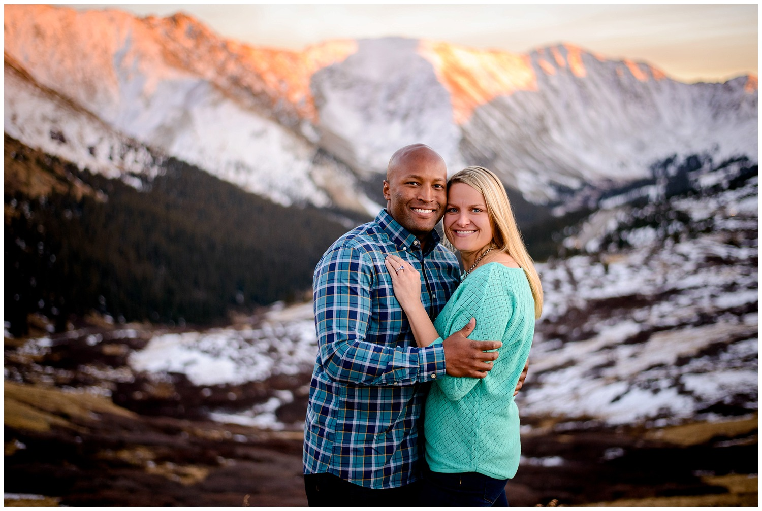 Loveland Pass winter Engagement photo