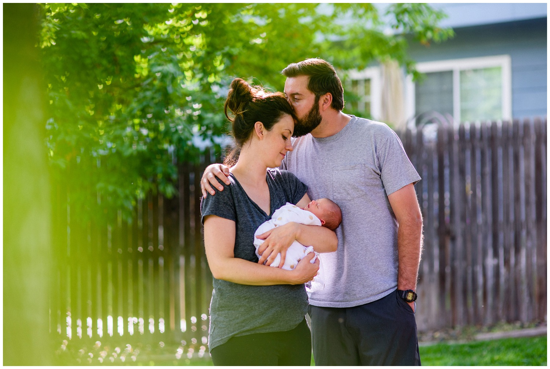 outdoor newborn family photo in Denver