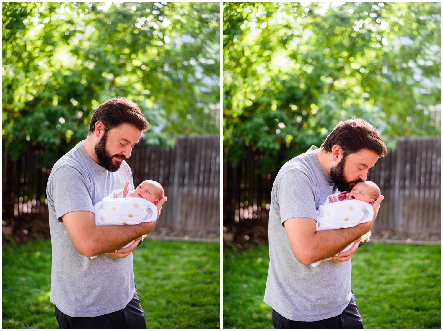 colorado newborn photo with dad outside