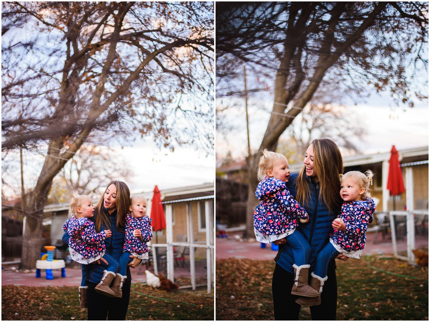 lifestyle photograph of mom with twin girls