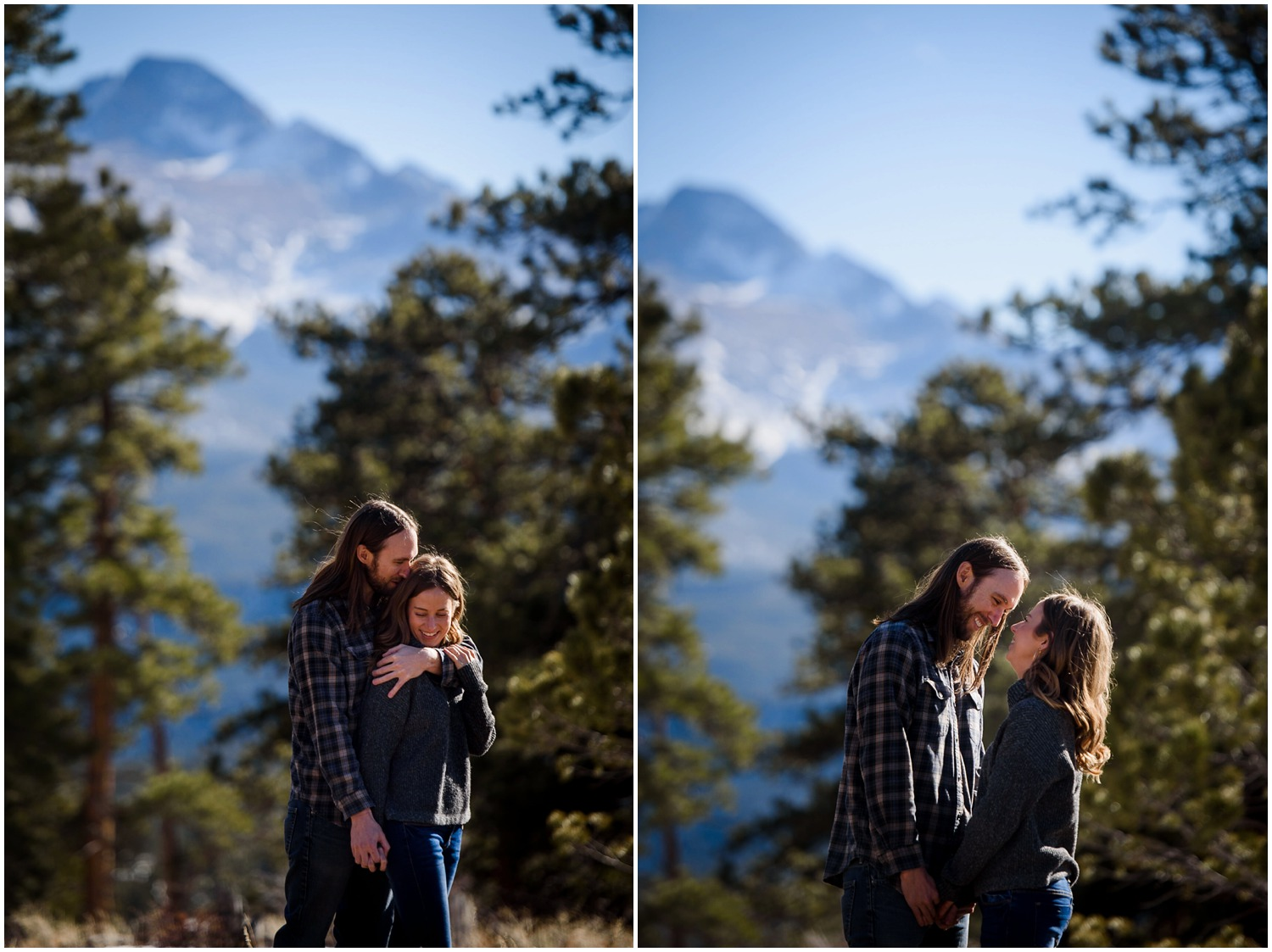 engagement photo with Longs Peak
