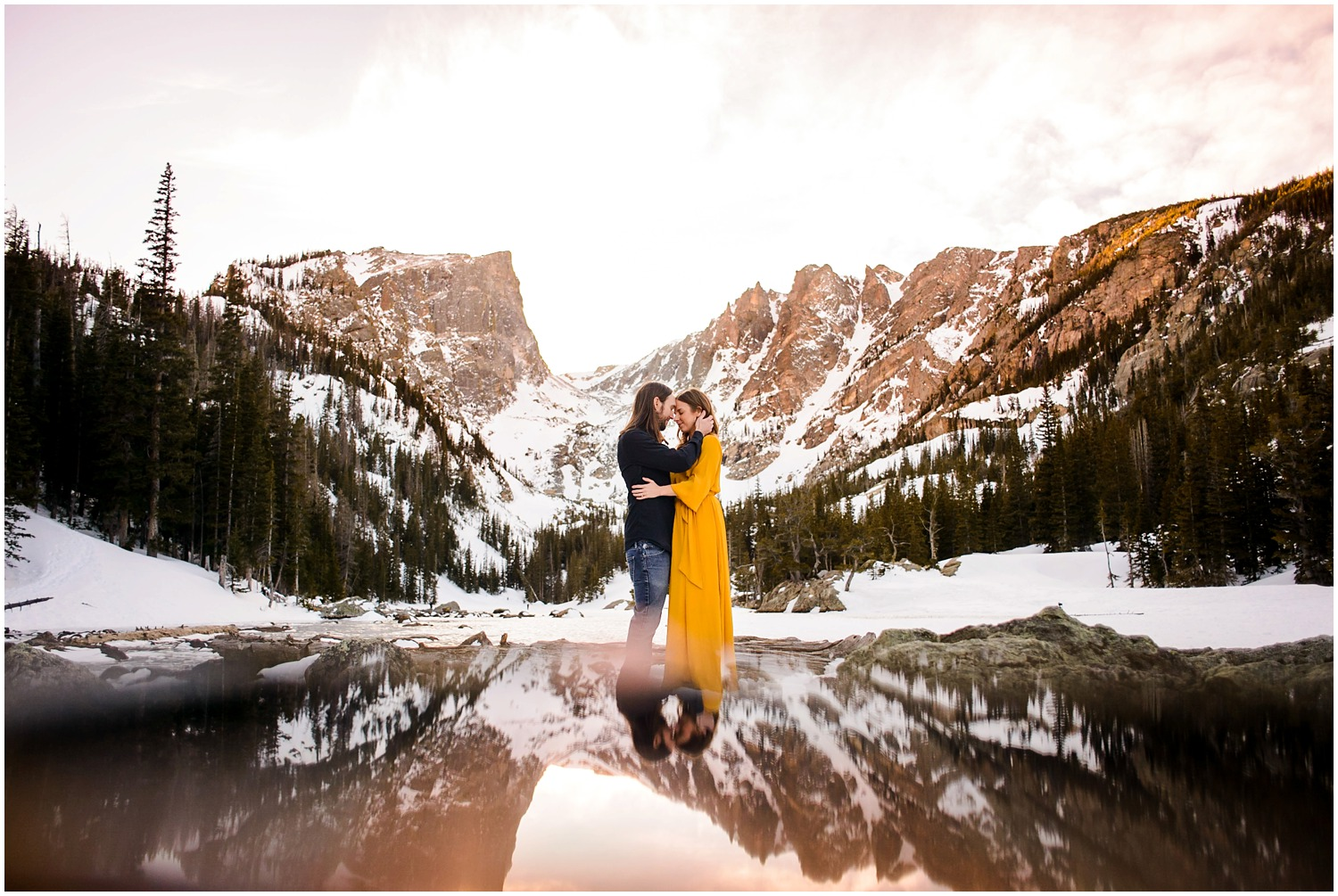 Colorado sunset engagement photo in Rocky mountain national Park