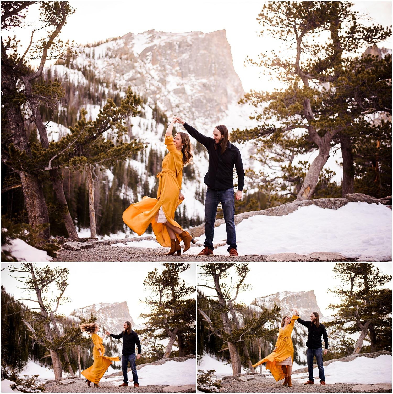 Dream Lake Sunset engagement photos