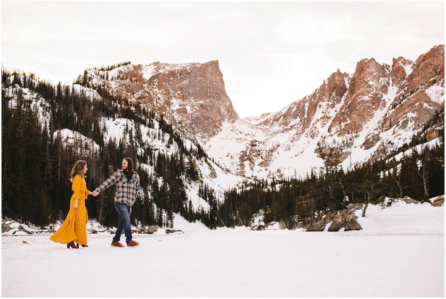 Mountain lake engagement photo in colorado