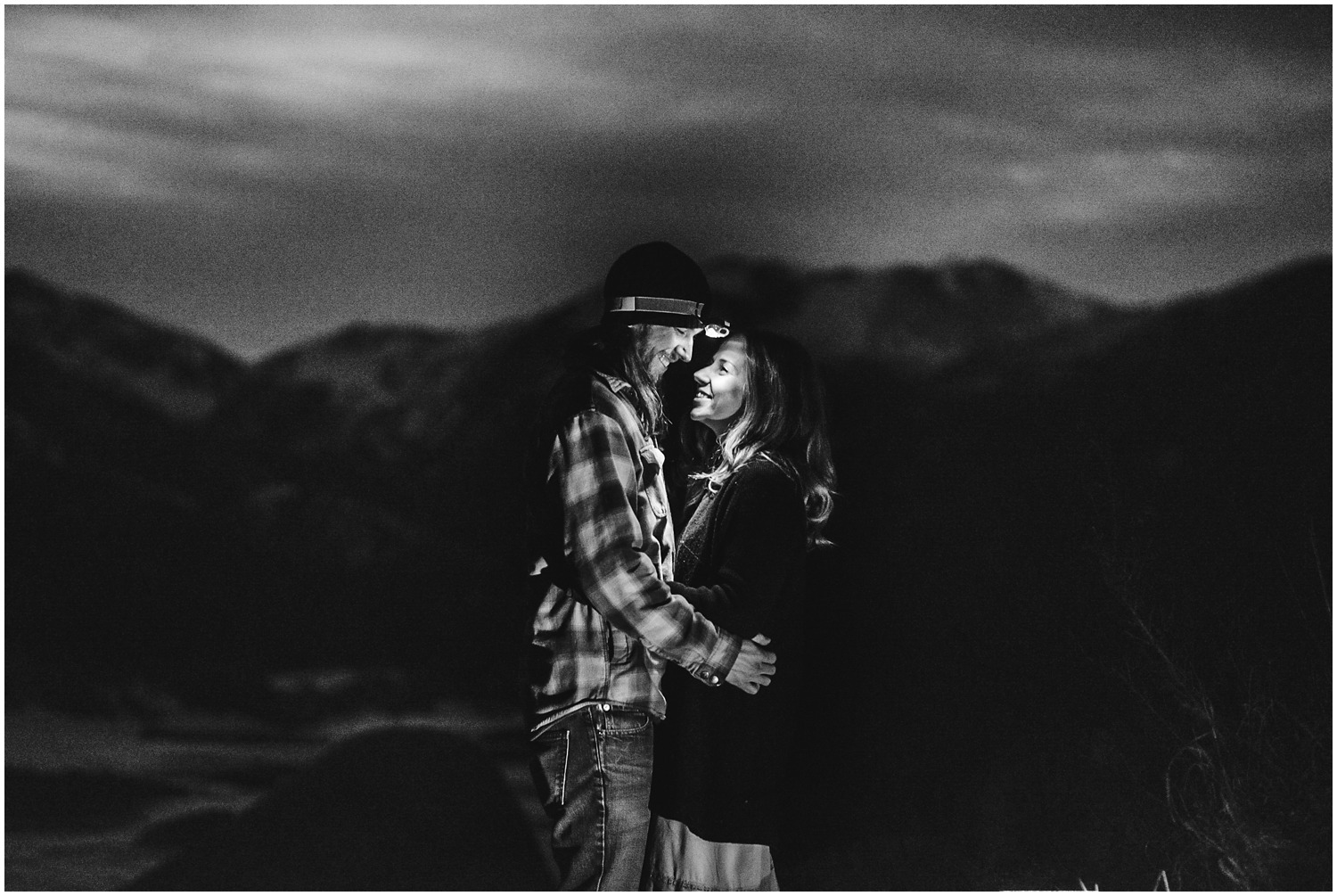 Night engagement photo with headlamps