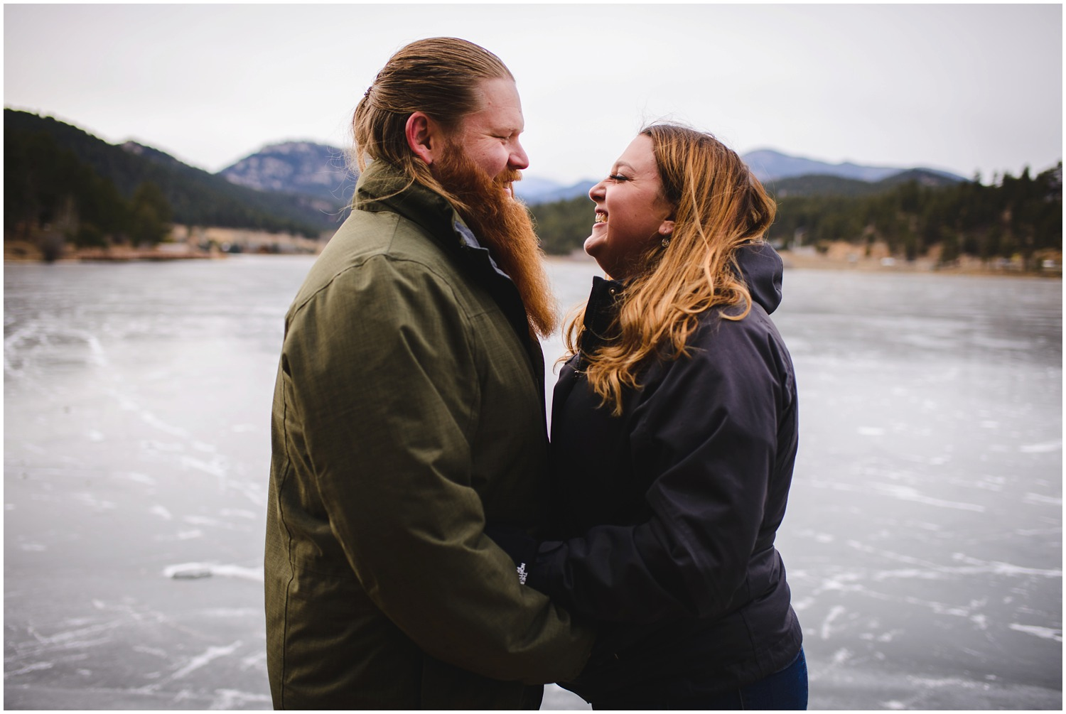 Engagement photo at Evergreen Lake