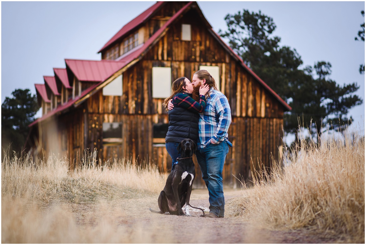 Three Sisters Barn engagement photo with dog
