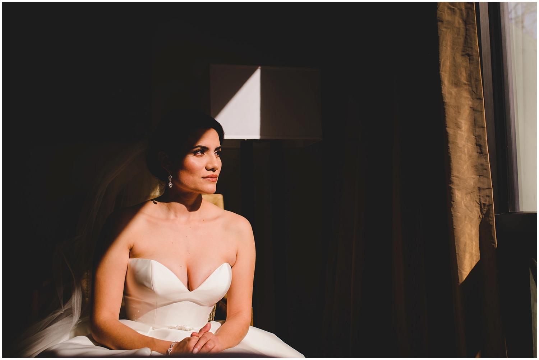 creatively lit bridal portrait