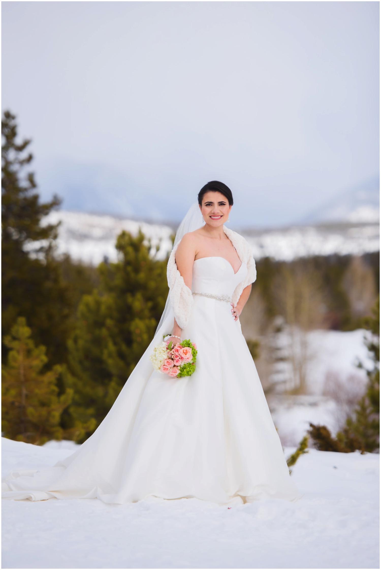 Colorado Bride in winter at Lake Dillon