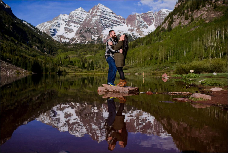 Engagement photo at Maroon Lake in Colorado