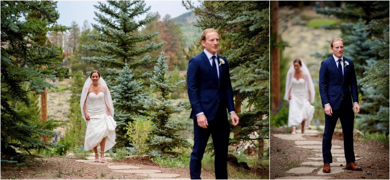 Bride and Groom first look in Keystone
