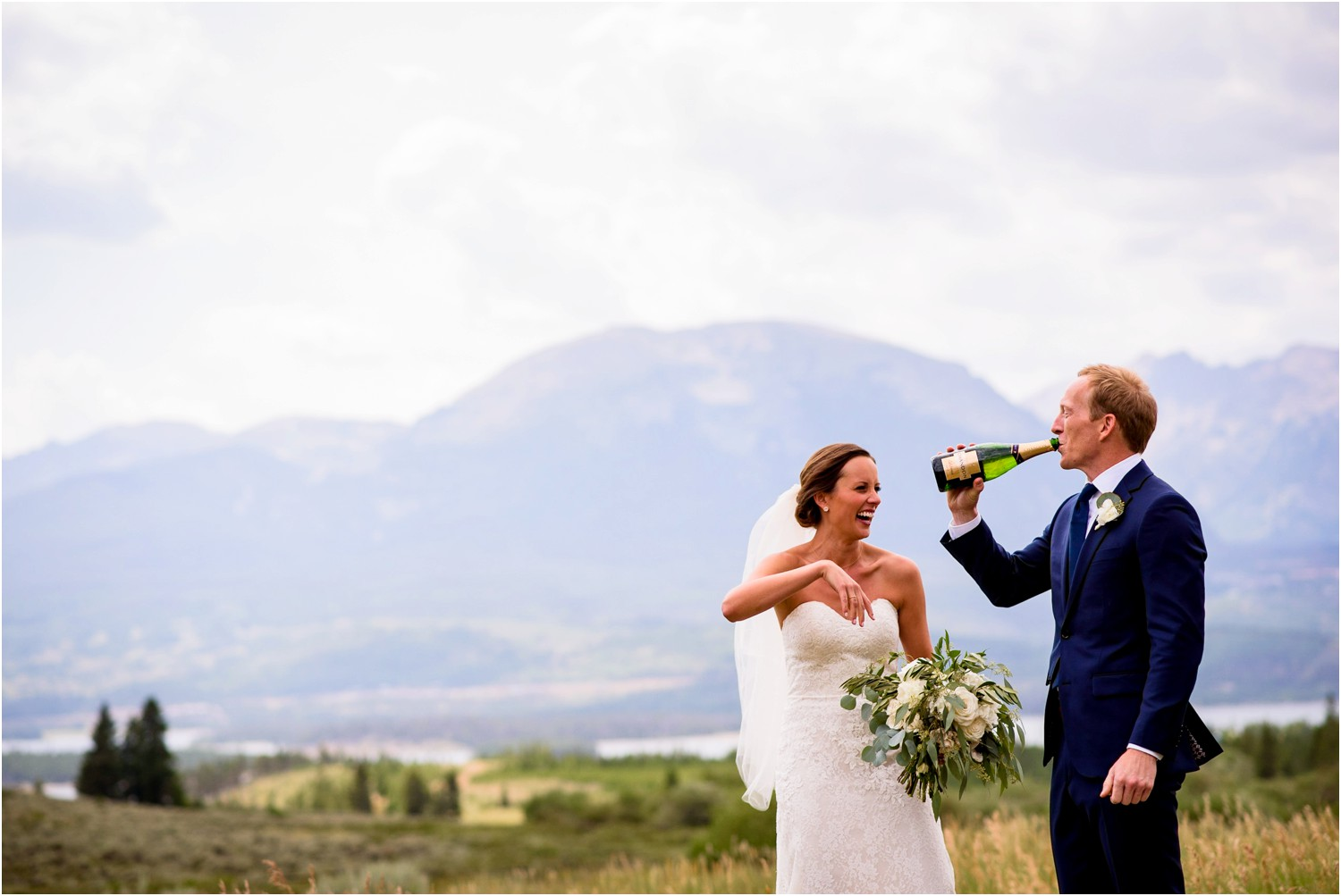 funny bride and groom photos drinking champagne