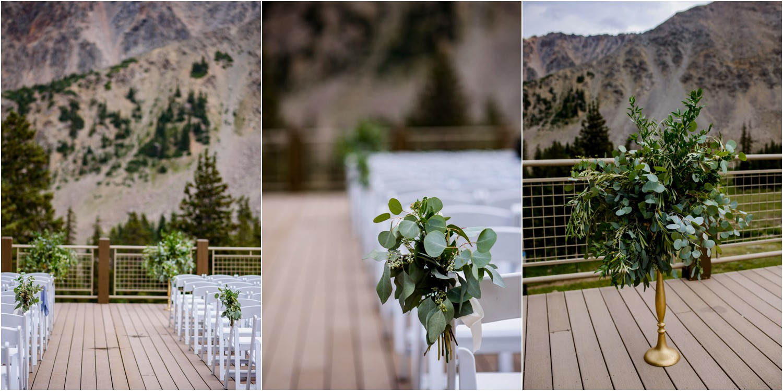 Aspen leaf Ceremony decor at Black mountain lodge
