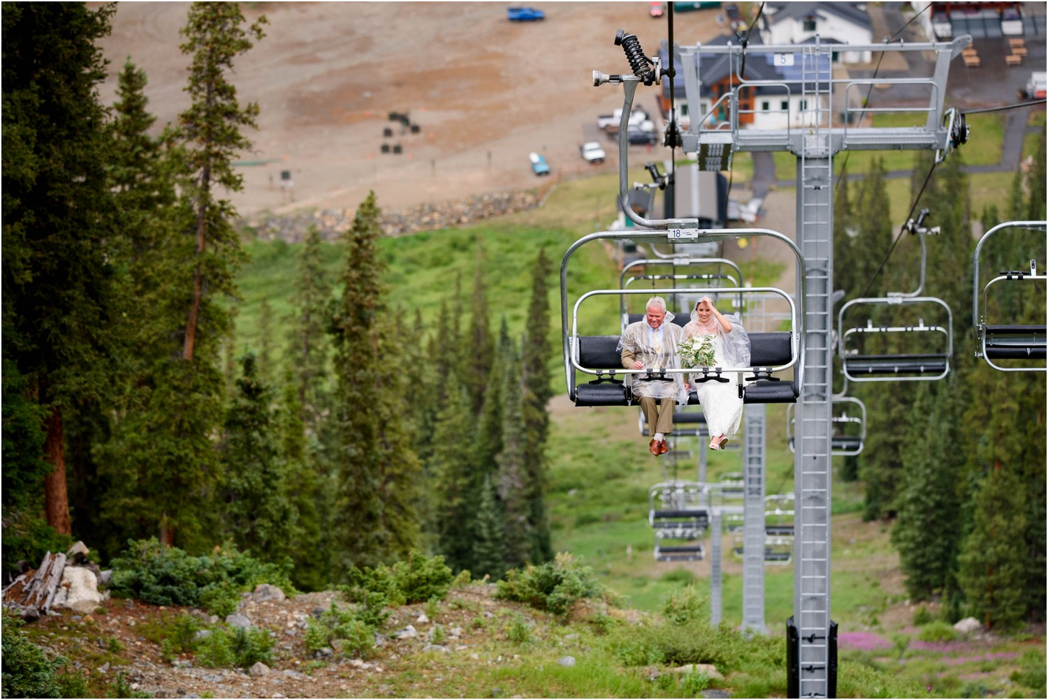 Bride rides chairlift at Colorado mountain wedding