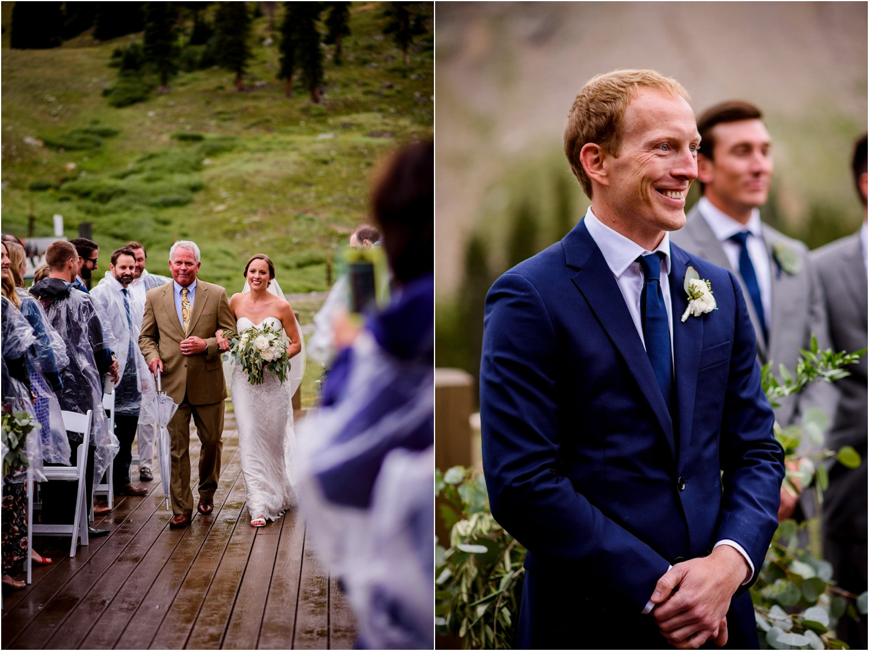 Groom sees Bride walk down aisle in Colorado