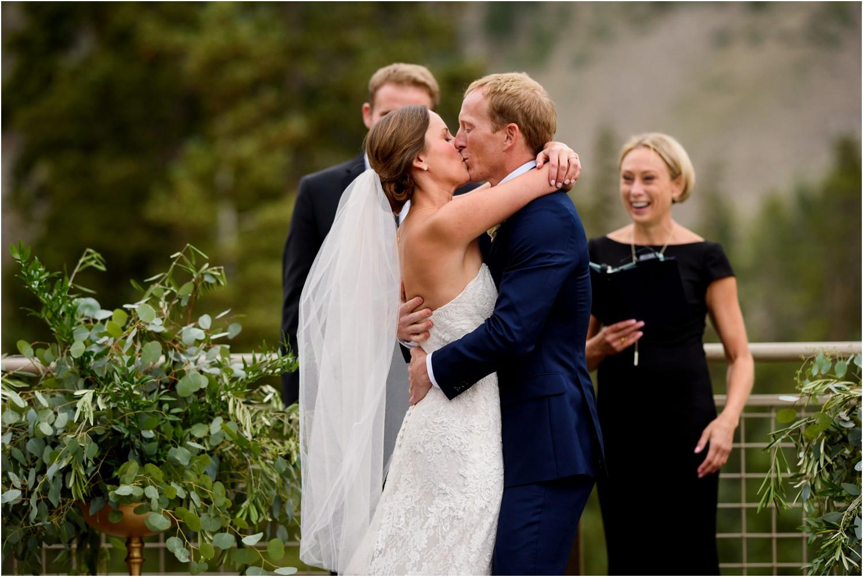 Black mountain lodge wedding photography first kiss