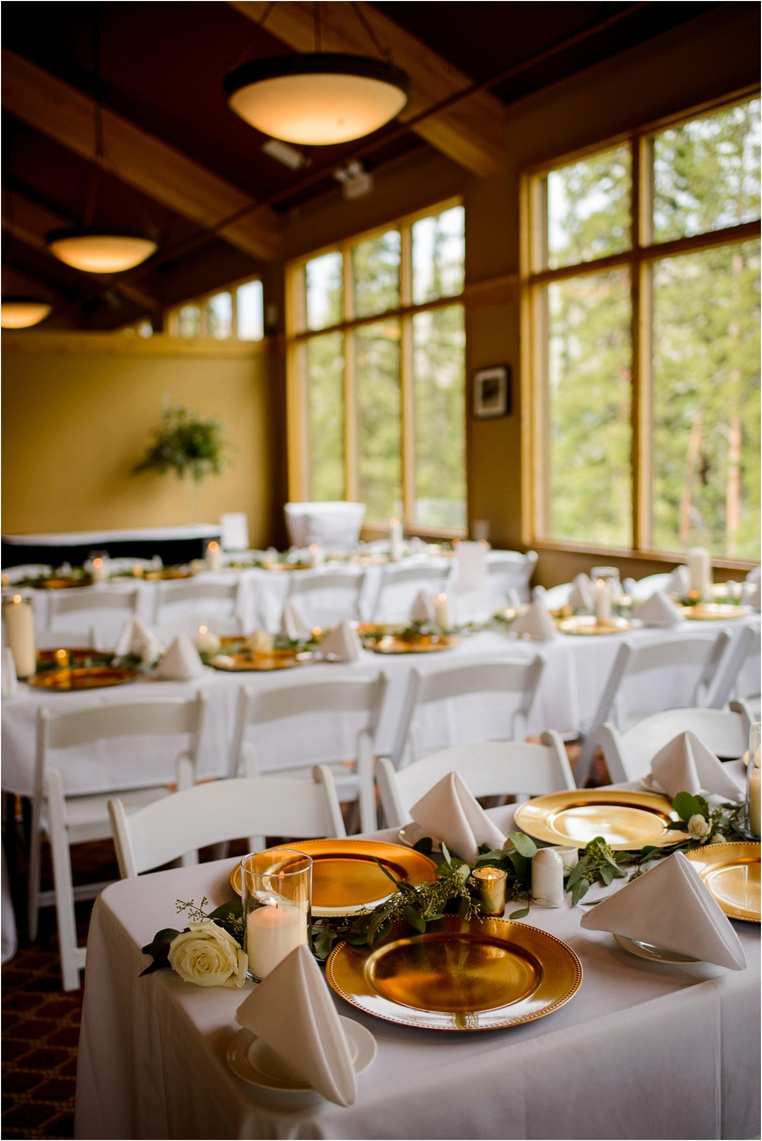 Black mountain lodge wedding decor