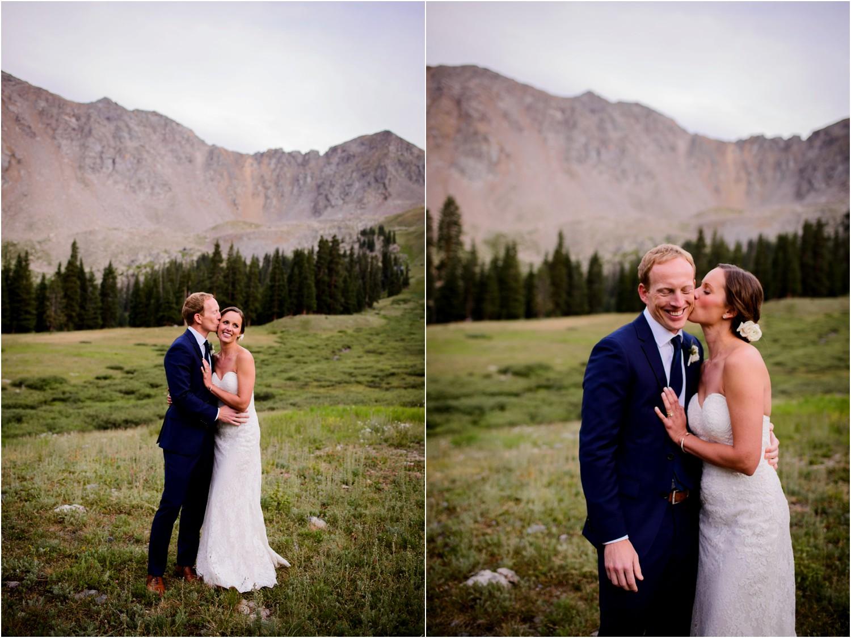 Mountain top Sunset wedding photos in colorado