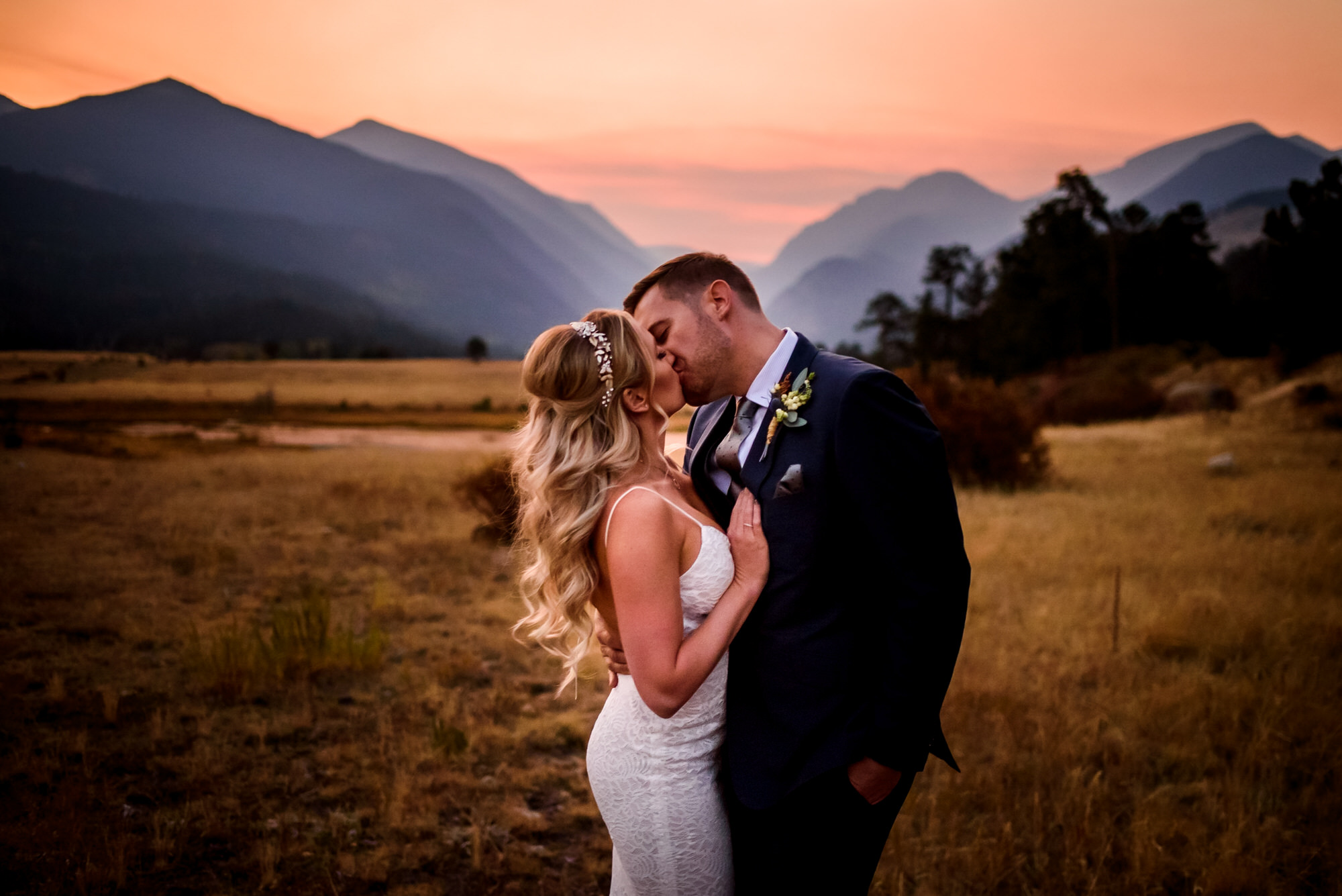 Colorado adventure Elopement in Rocky Mountain National Park at sunset