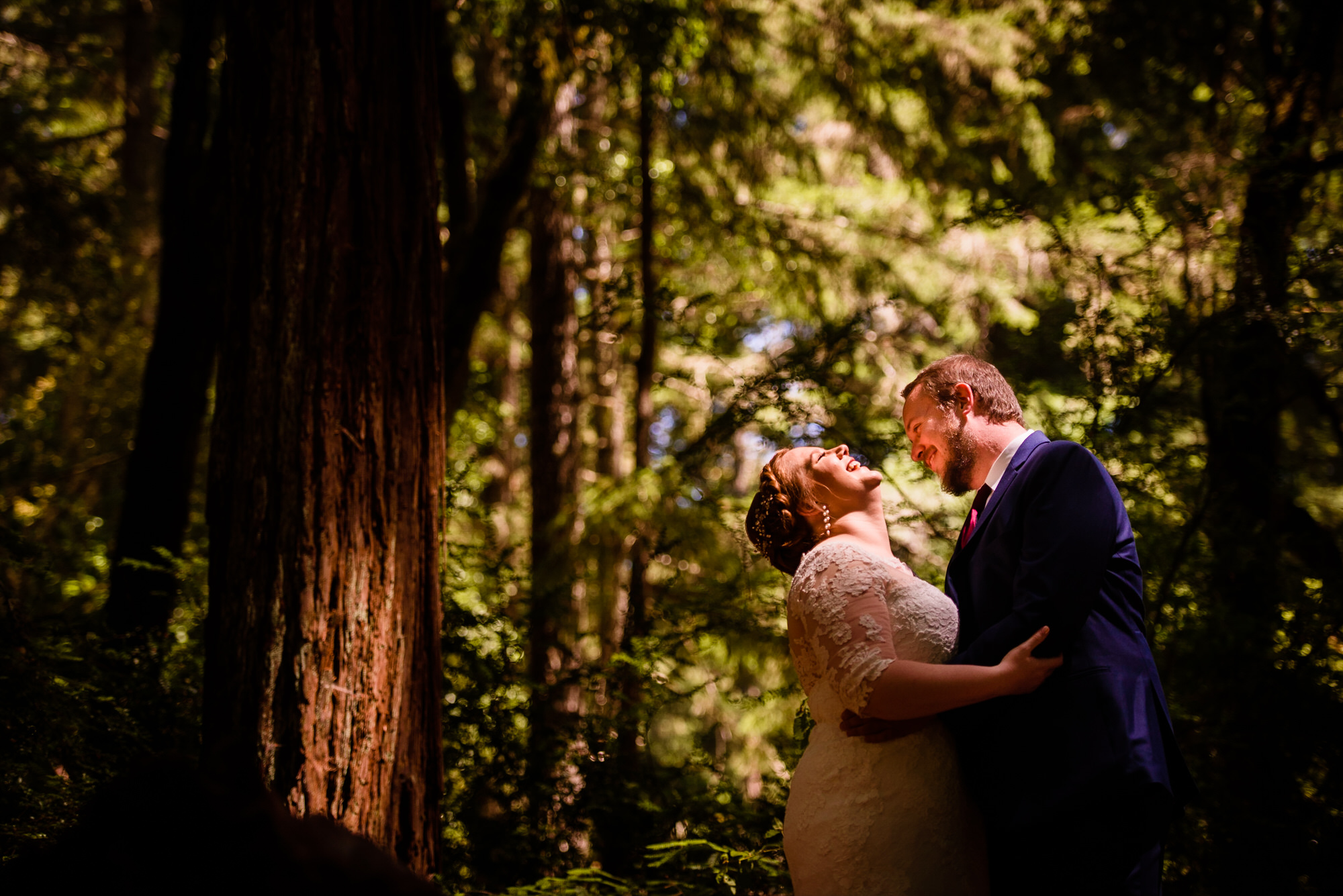 Copy of bride laughs in Redwood Forest Wedding