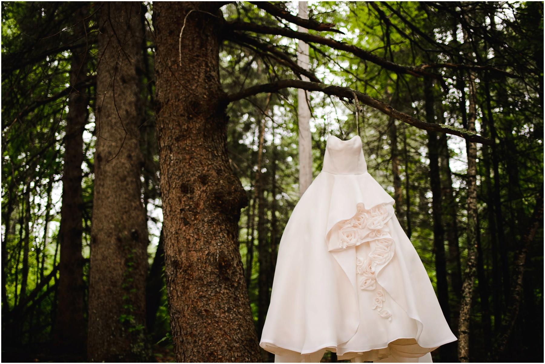wedding dress hangs in North Woods trees