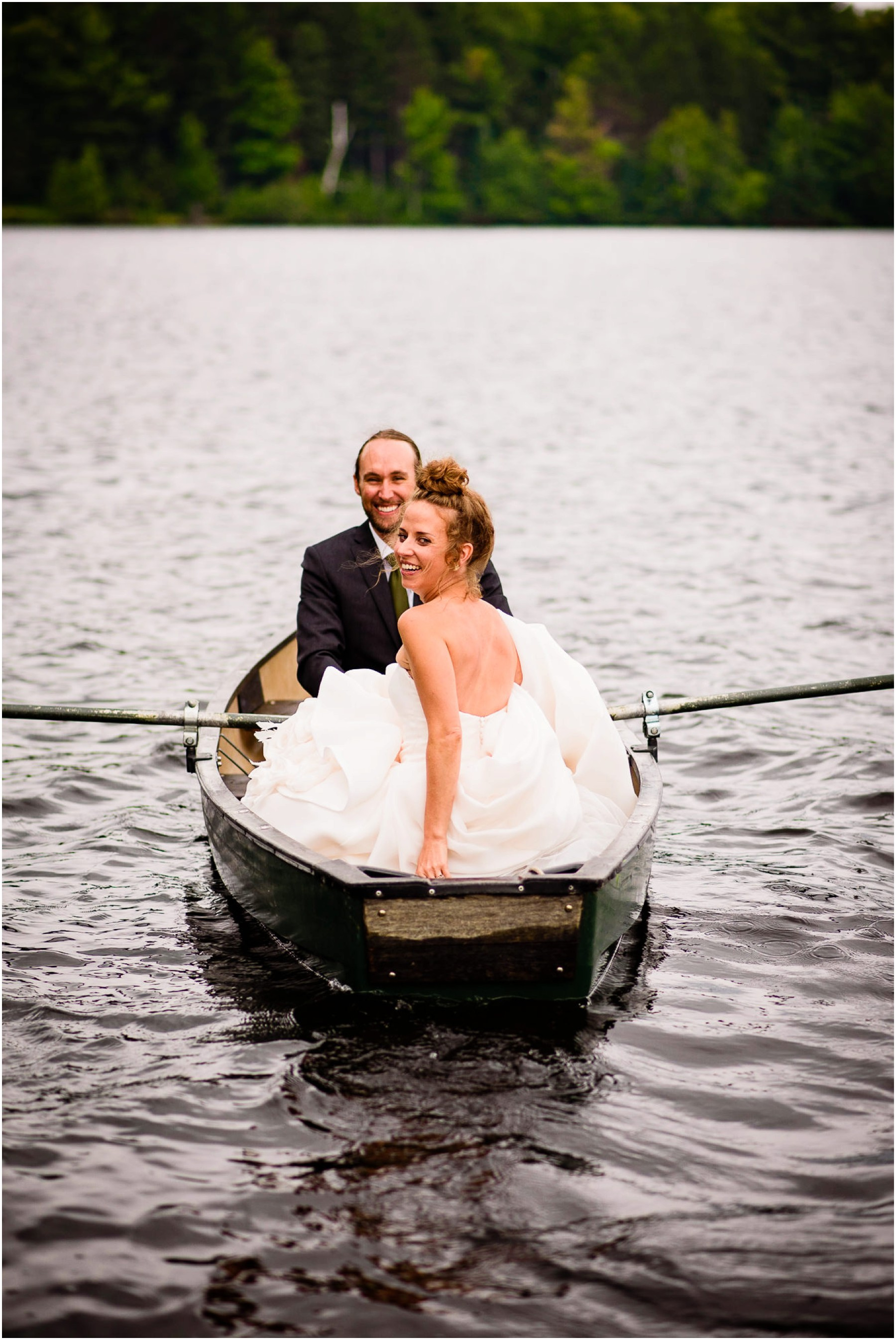Wisconsin Bride and groom on Lake Canoe after Ceremony