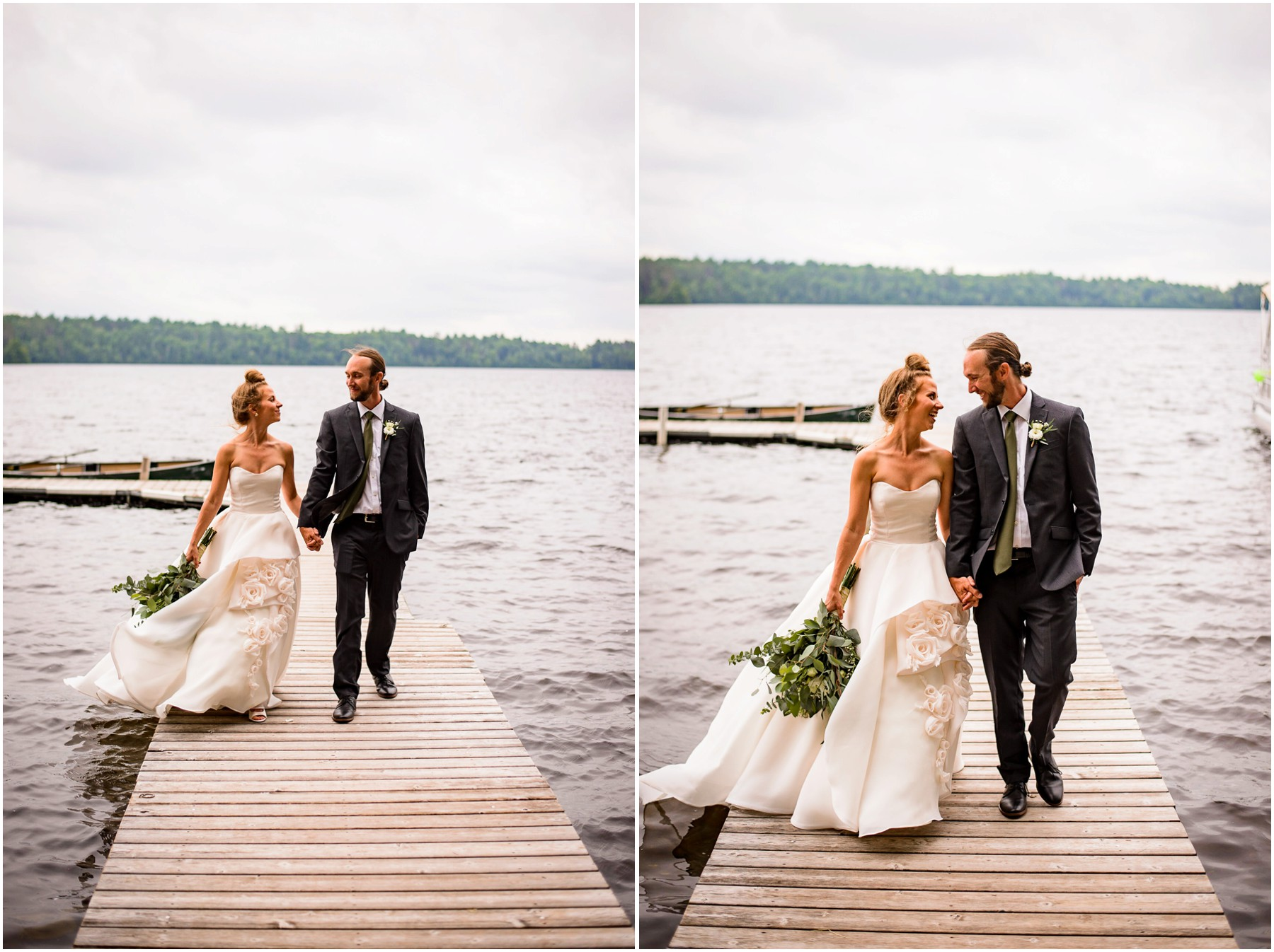 Bride and Groom walk on dock together