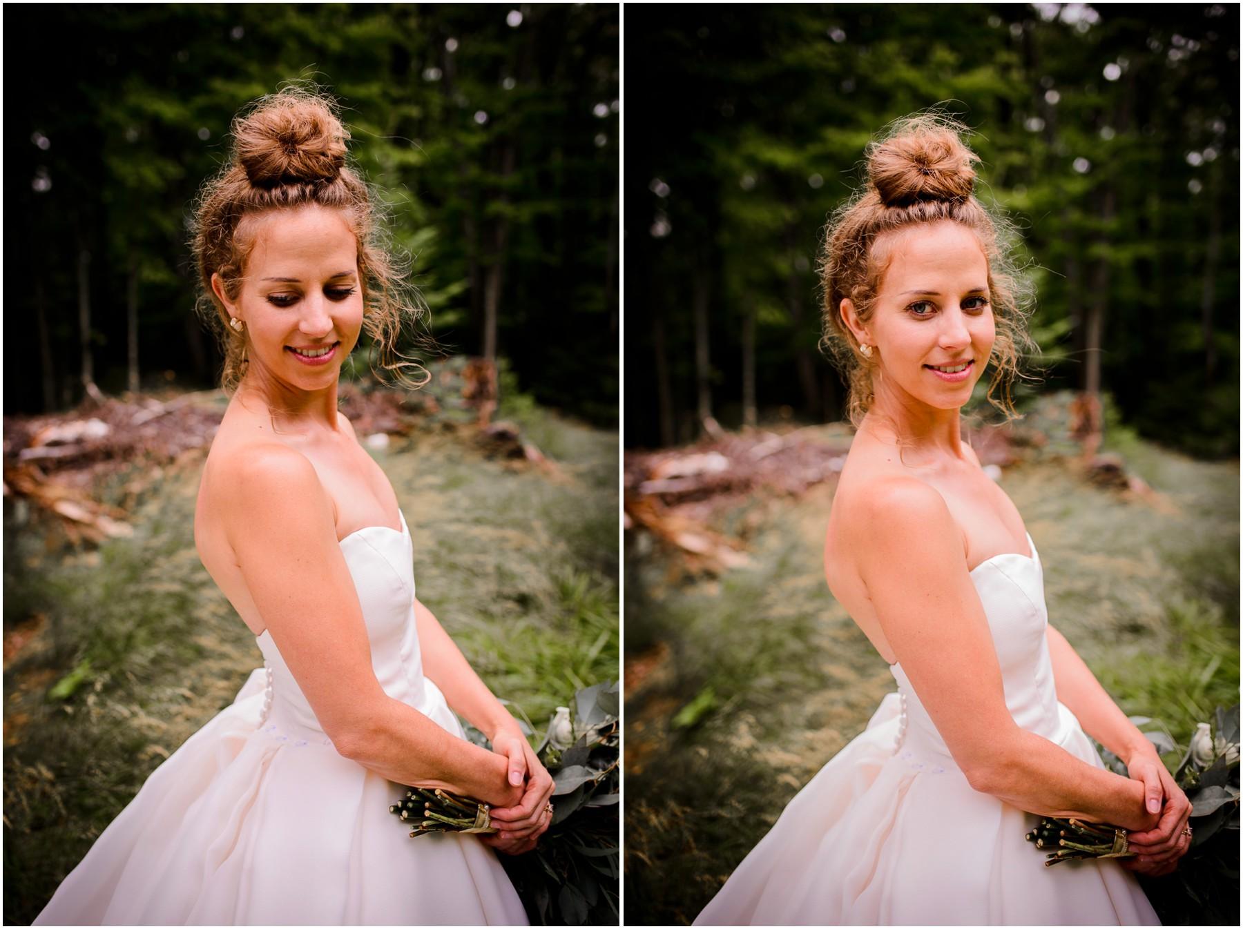 portraits of Colorado bride in Wisconsin woods
