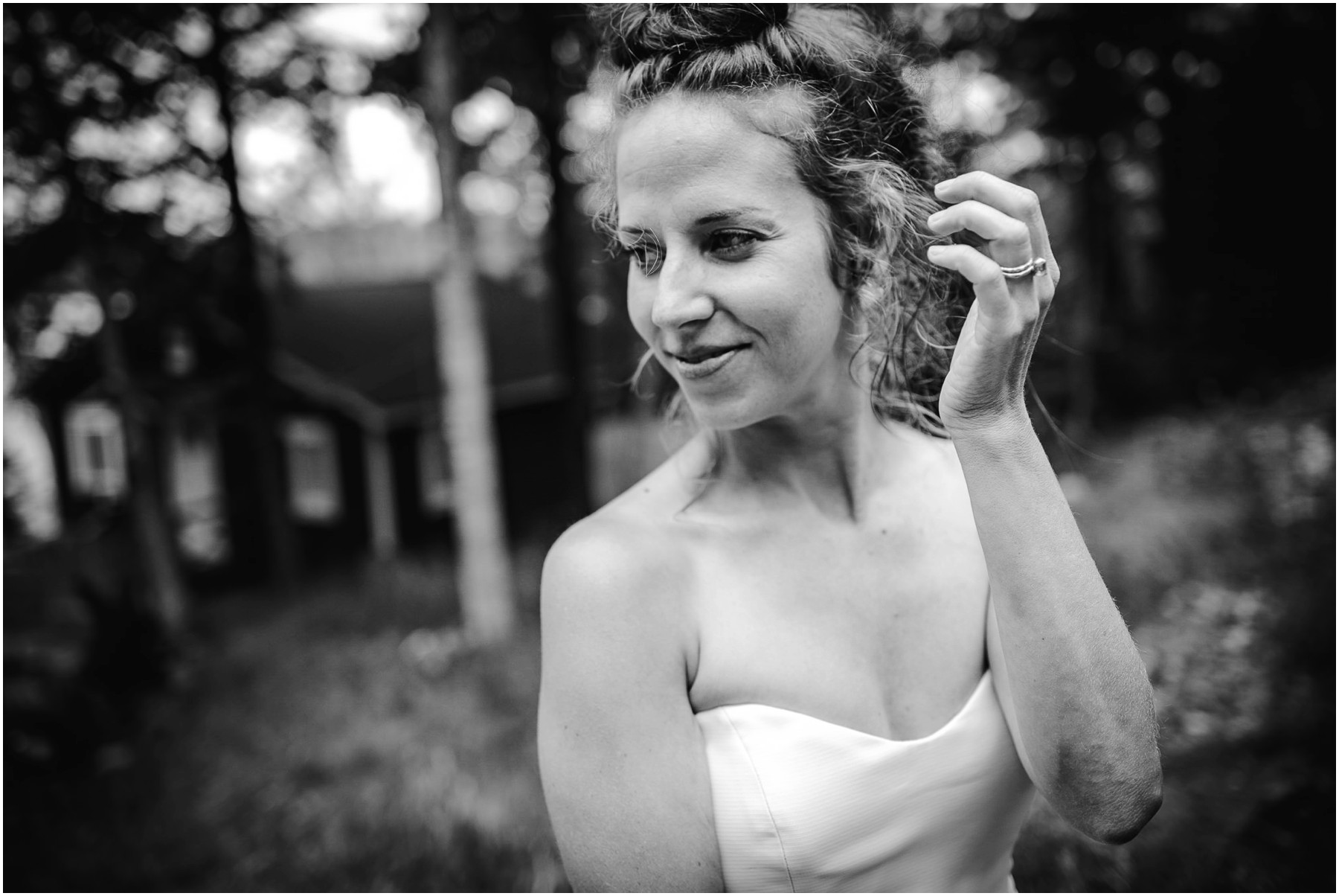black and white portrait of Colorado bride