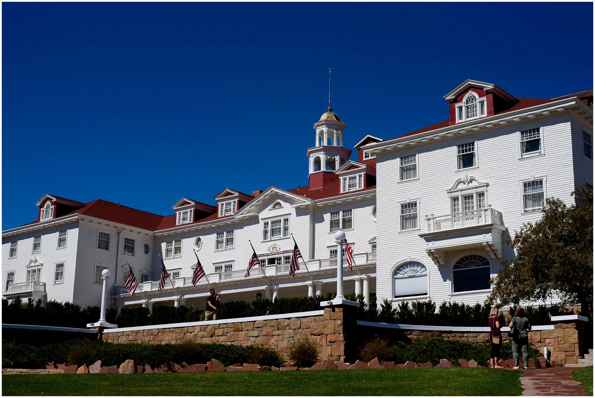 The Stanley Hotel on sunny blue sky day