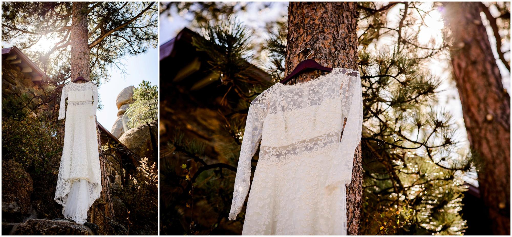 wedding dress hangs in tree in colorado