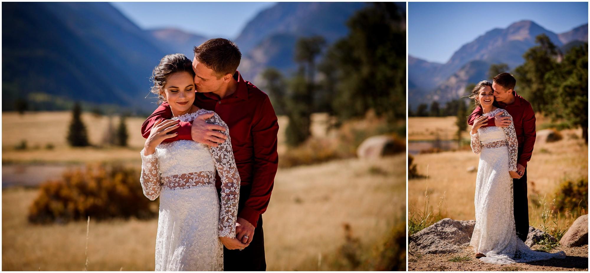 bride and groom kissing at Sheep Lakes on sunny day