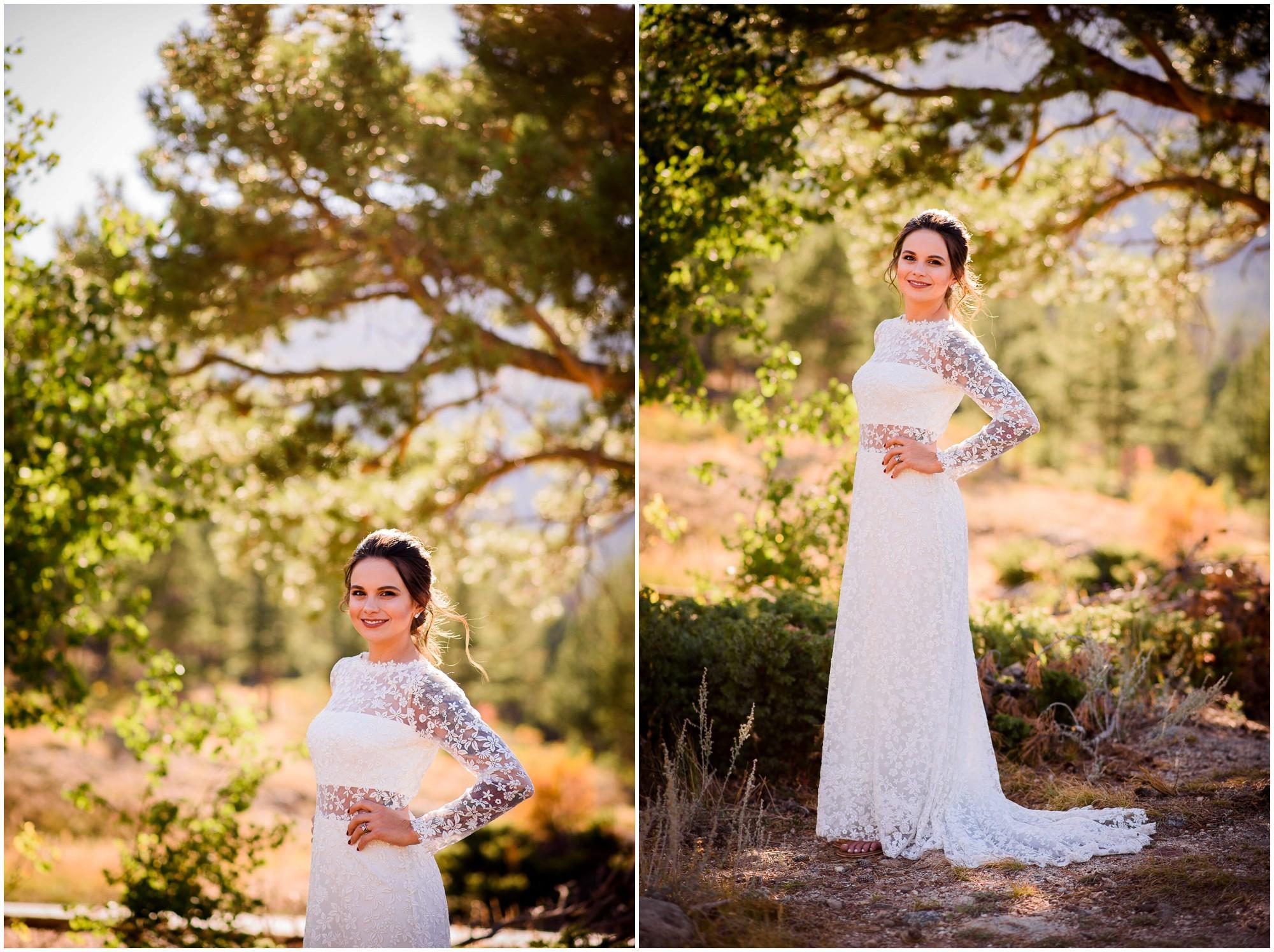 Fall Bride poses near aspen trees in Colorado