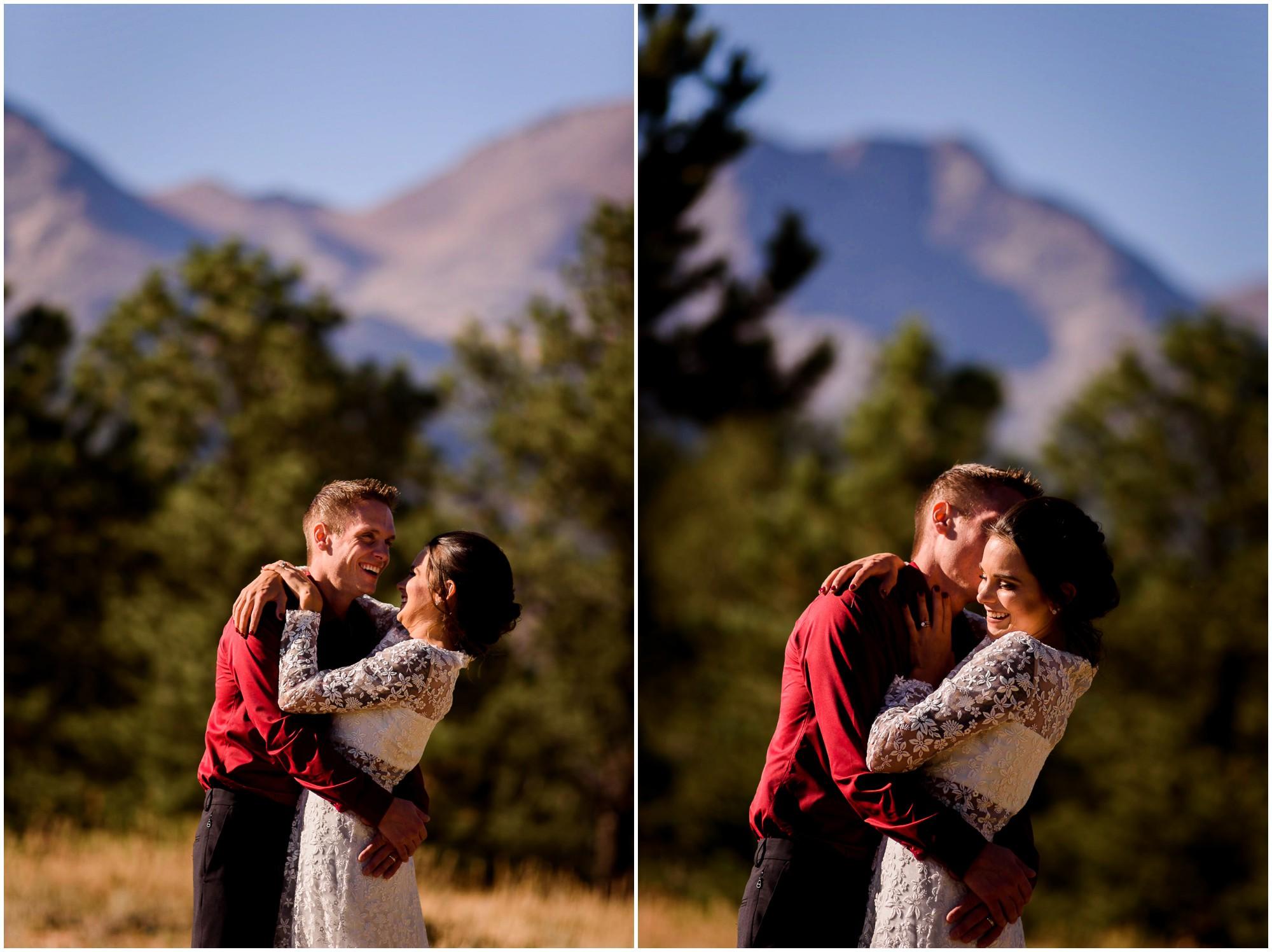 Bride and groom laugh in Estes Park wedding photos