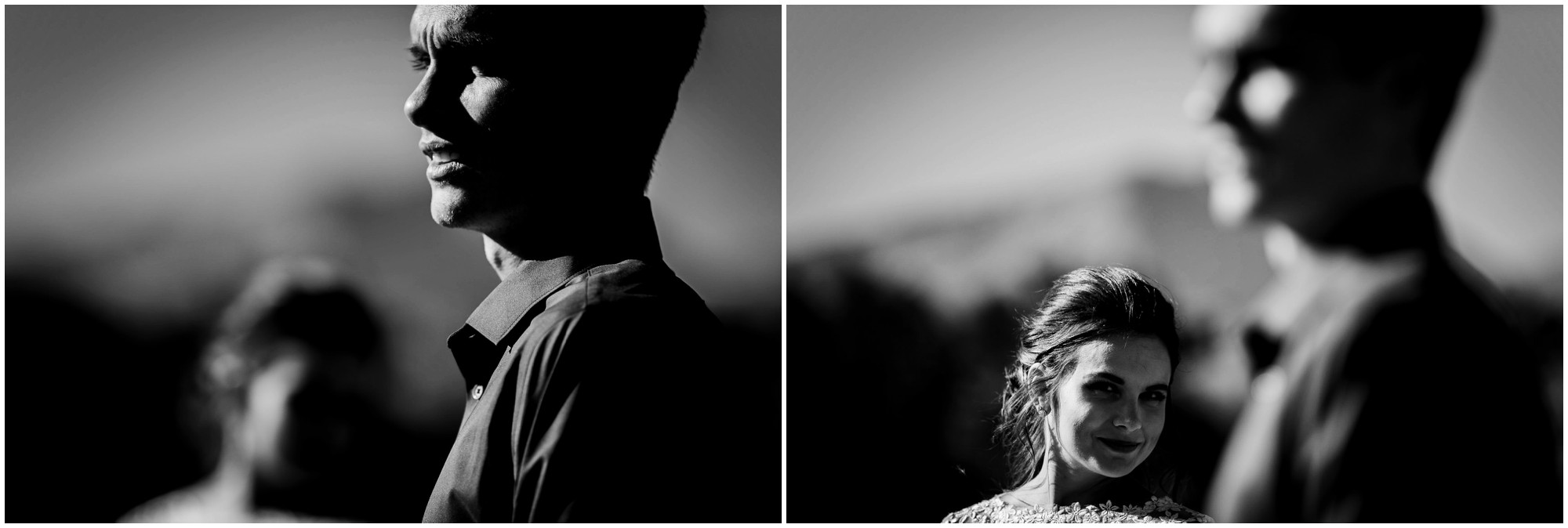 creative black and white portraits of bride and groom