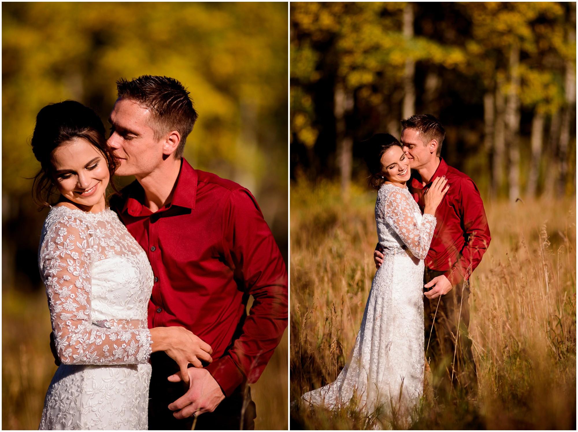 Fall photo of Bride and Groom in Estes Park Colorado