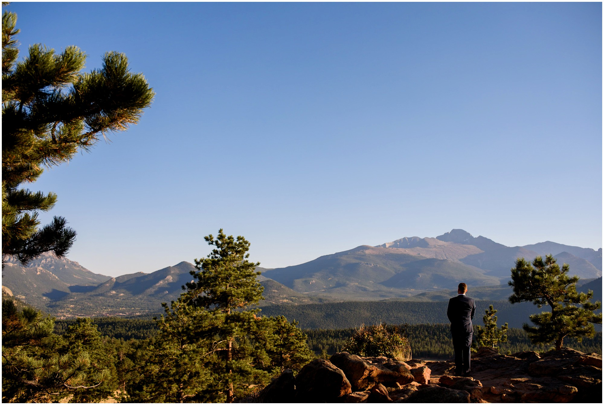 Groom waits for Bride in Colorado Mountain Elopement location