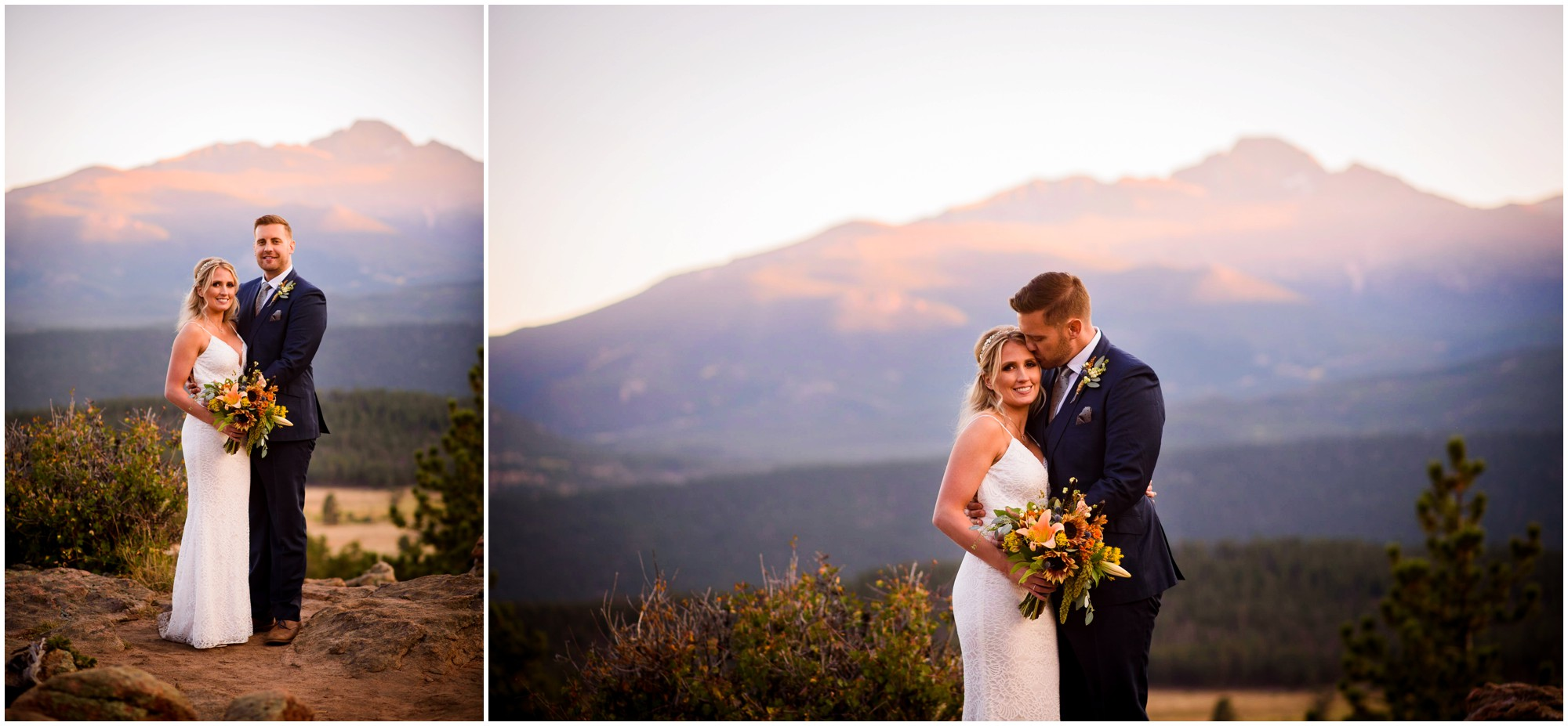 Bride and Groom stand in front of Longs Peak at sunset