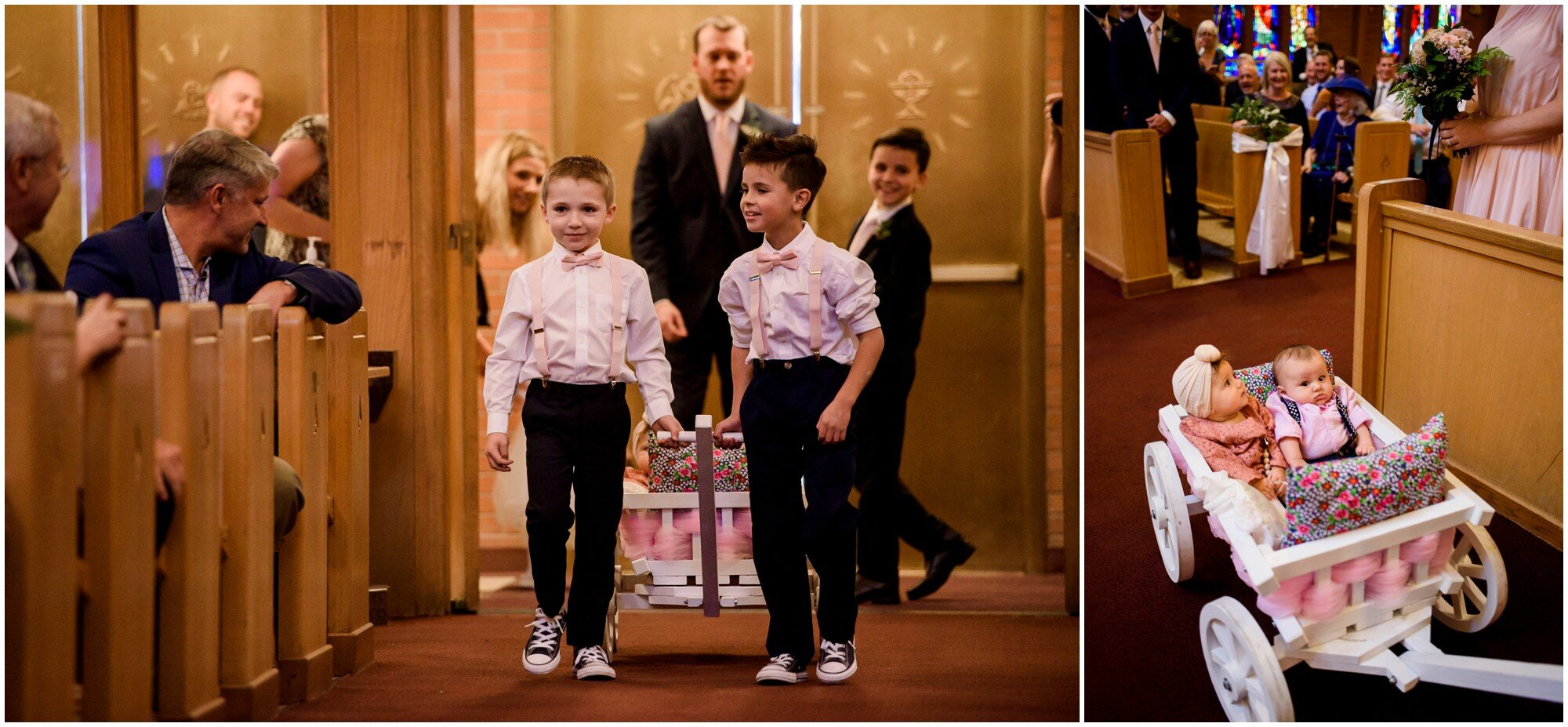 Ring bearers pull baby flower girl and ring bearer in wagon down aisle