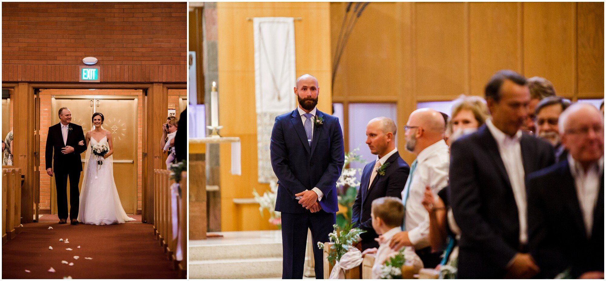 Groom watches his stunning bride walk down the aisle