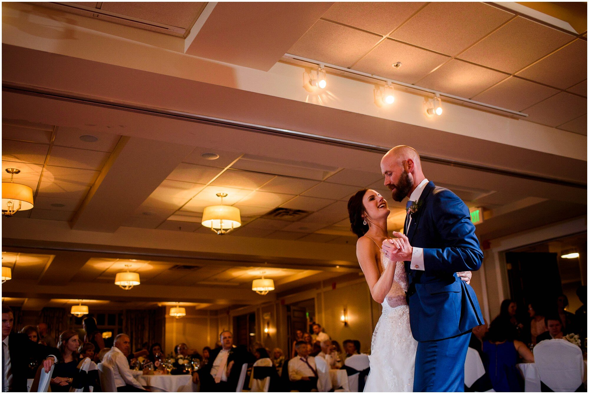 Bride and groom take their first dance at Hotel Boulderado in Boulder, Colorado