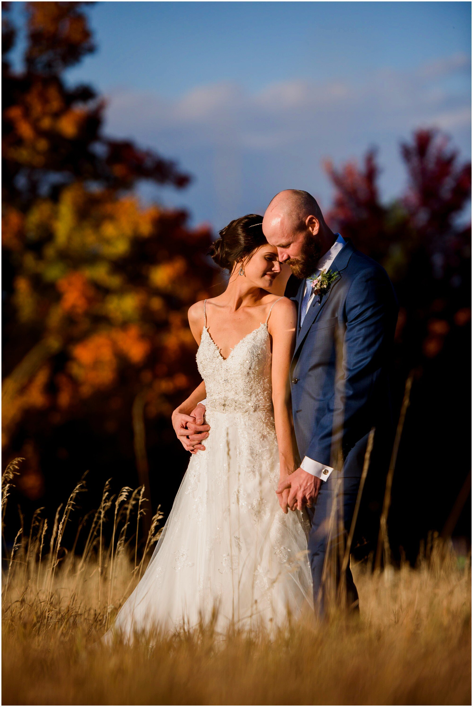Portrait of a bride and groom on their fall wedding day in Boulder, Colorado