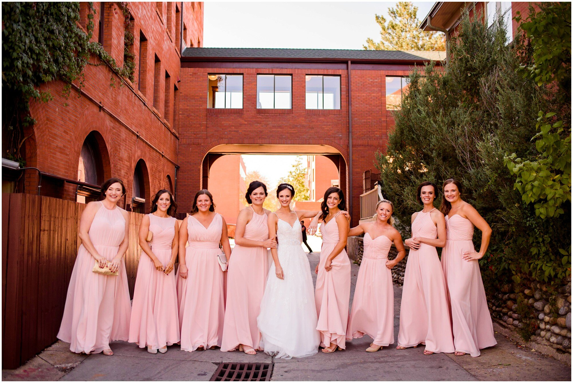 Pink Bridesmaids in Boulder Alley