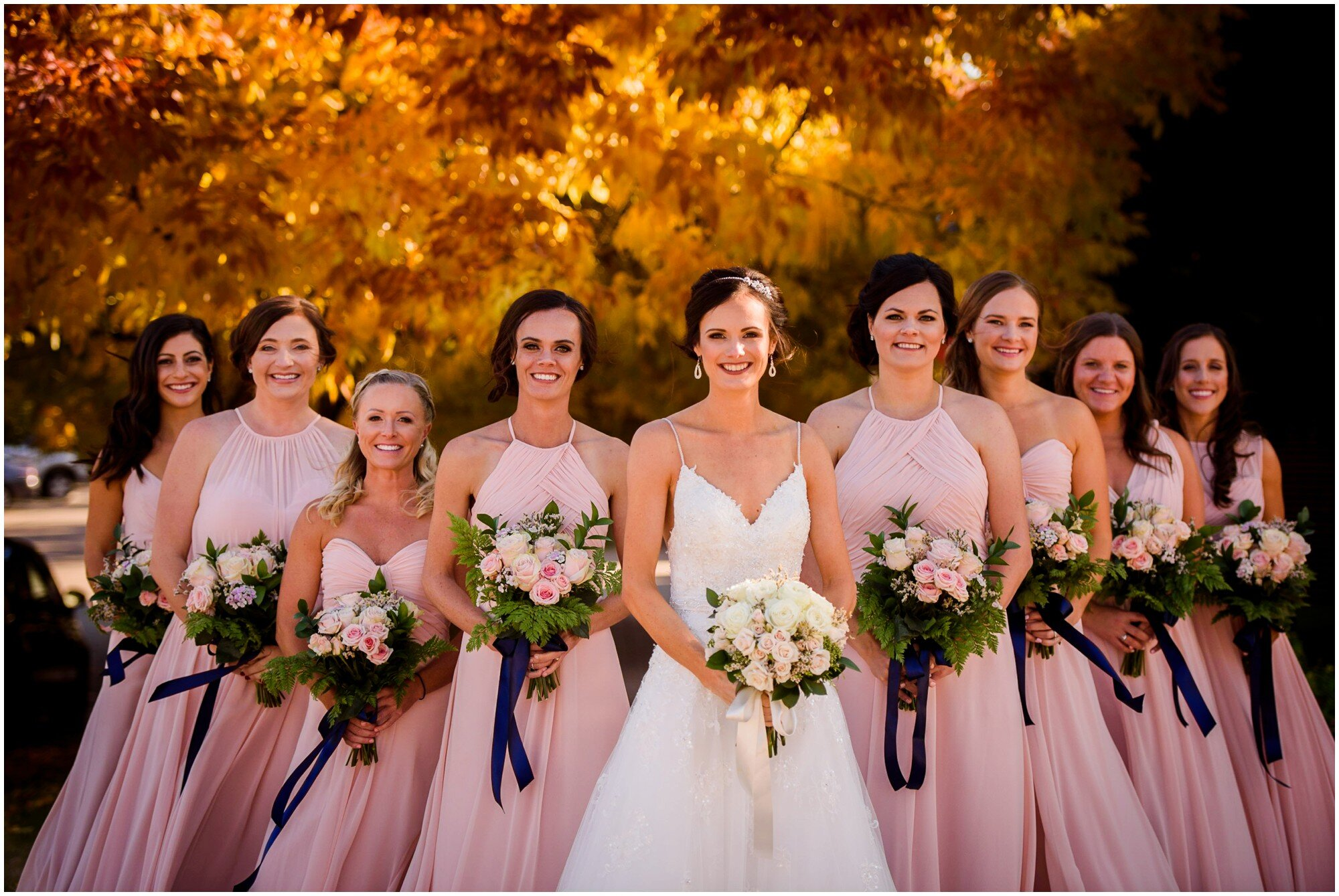 Pretty fall color Bridesmaids photo in boulder