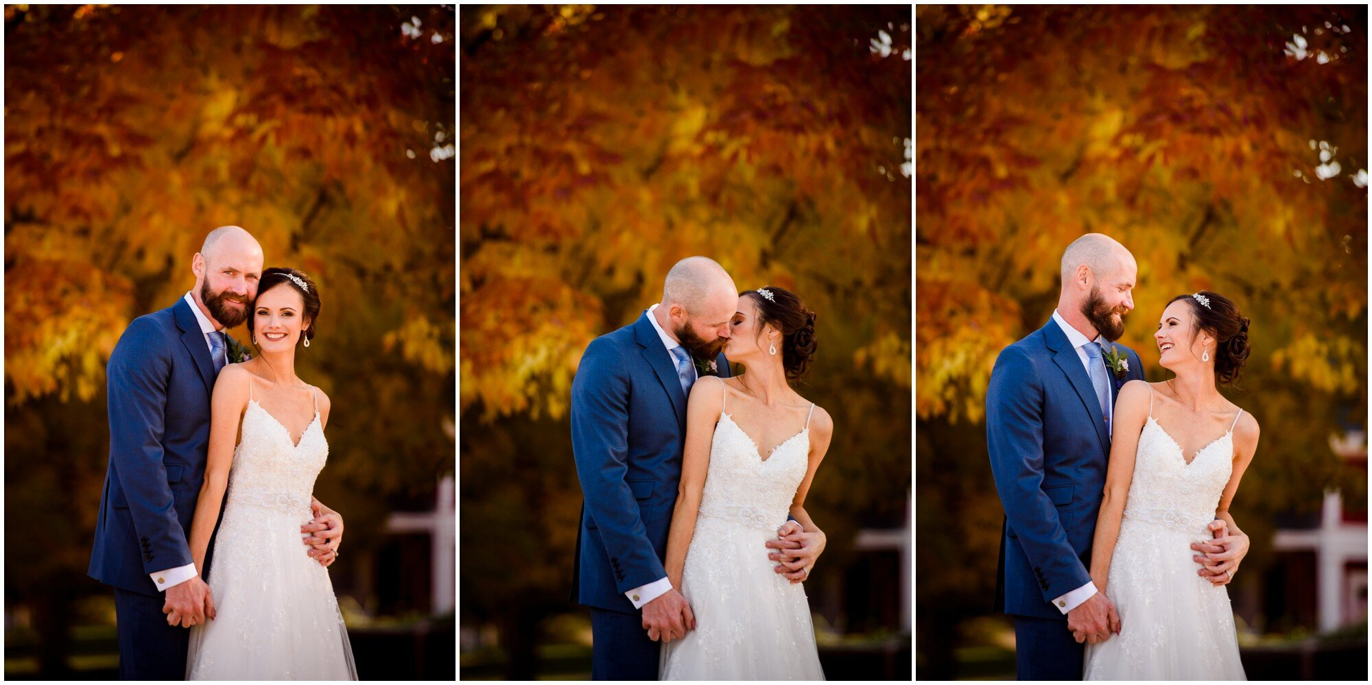 Fall Color photos with Bride and Groom