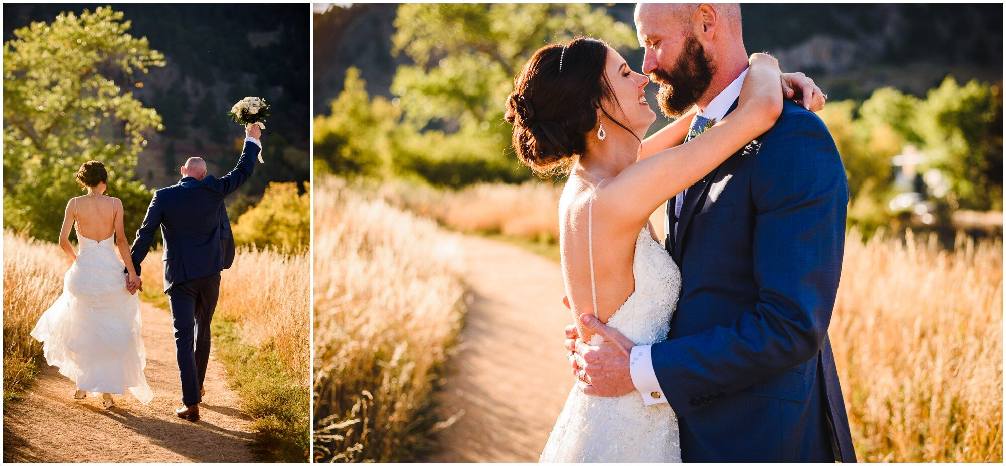 sunset wedding couple photos Chatauqua Park Boulder Colorado